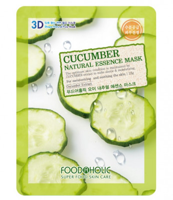 Тканевая 3D маска с экстрактом огурца FoodaHolic Cucumber Natural Essence Mask 23мл: фото