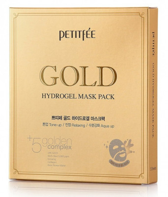 Маска гидрогелевая c ЗОЛОТОМ PETITFEE Gold Hydrogel Mask Pack 32г*5 шт: фото