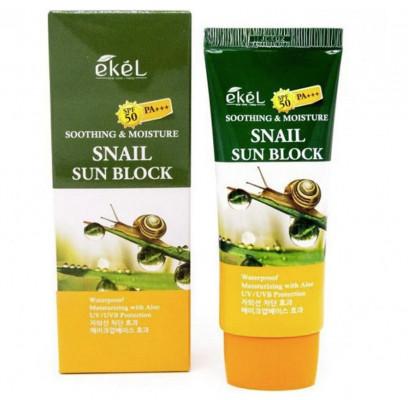 Солнцезащитный крем с улиточным муцином Ekel Soothing & Moisture Sun Block Snail SPF50/PA+++ 70 мл: фото