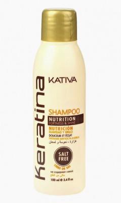 Укрепляющий шампунь с кератином для всех типов волоc Kativa KERATINA 50 мл: фото
