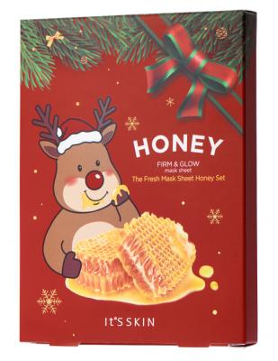 Новогодний набор тканевых масок с мёдом It's Skin The Fresh Mask Sheet Honey GLOBAL NEW YEAR 20г*5шт: фото